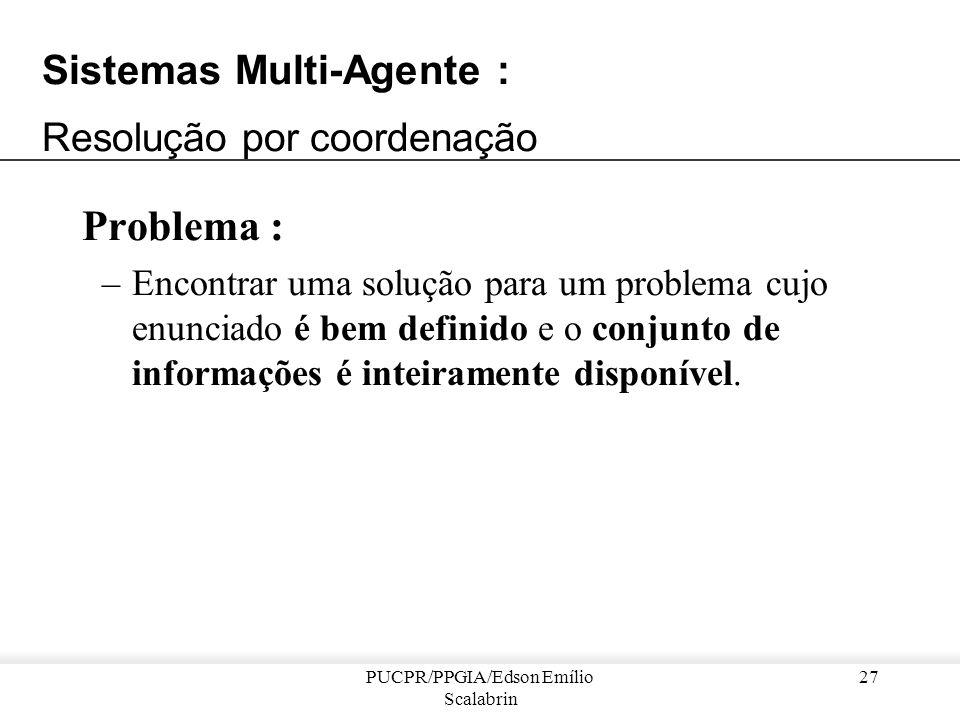 PUCPR/PPGIA/Edson Emílio Scalabrin 26 Exemplo de resolução distribuída de problemas... Características dos agentes do IDEAL : –apresentam uma arquitet