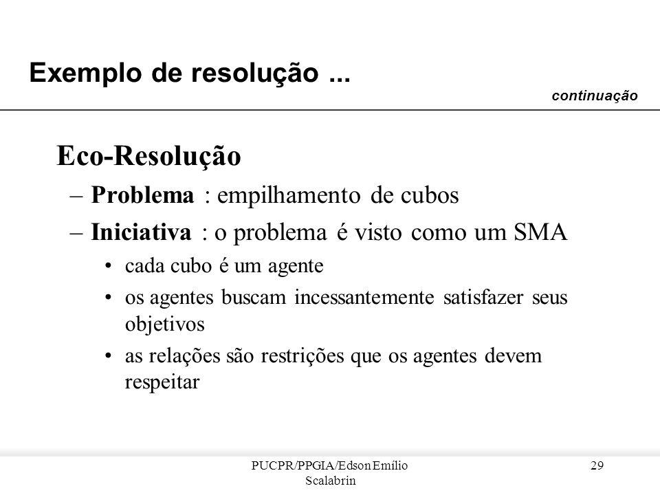 PUCPR/PPGIA/Edson Emílio Scalabrin 28 Exemplo de resolução... determinar uma alocação de tarefas para uma máquina definir a agenda de um colega dar a