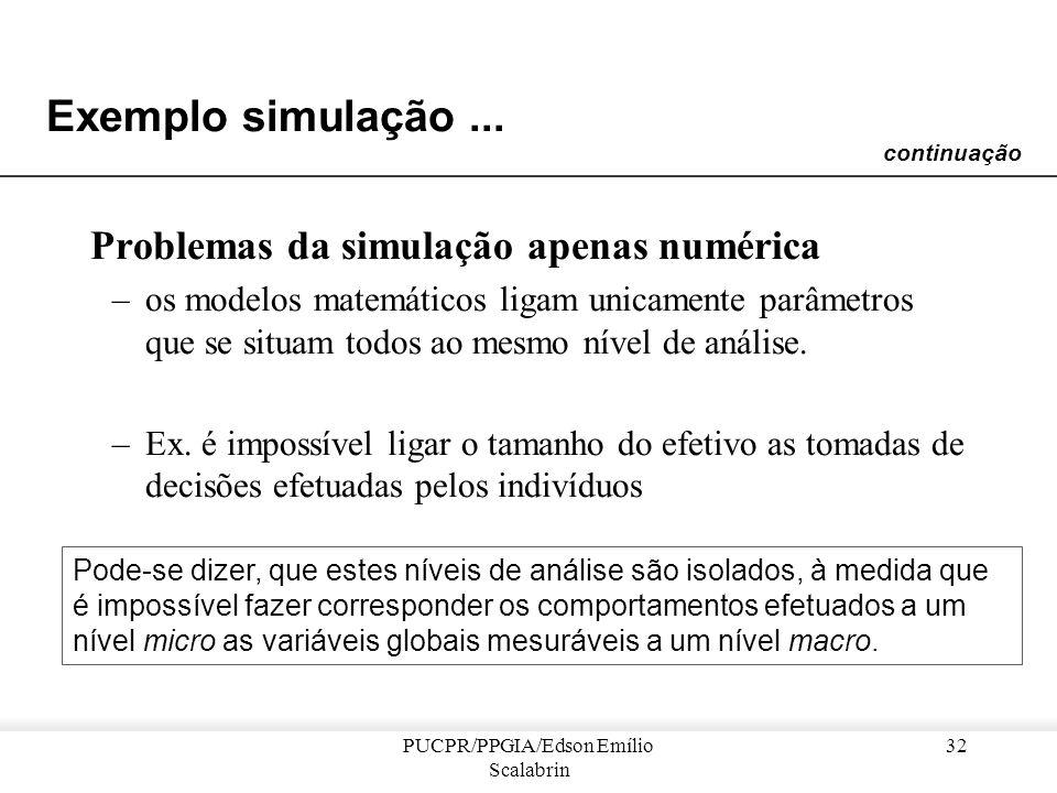 PUCPR/PPGIA/Edson Emílio Scalabrin 31 Exemplo simulação... Presa-Predador dN 1 = r 1 N 1 - PN 1 N 2 dN 2 = aPN 1 N 2 - d 2 N 2dt P : coeficiente de de