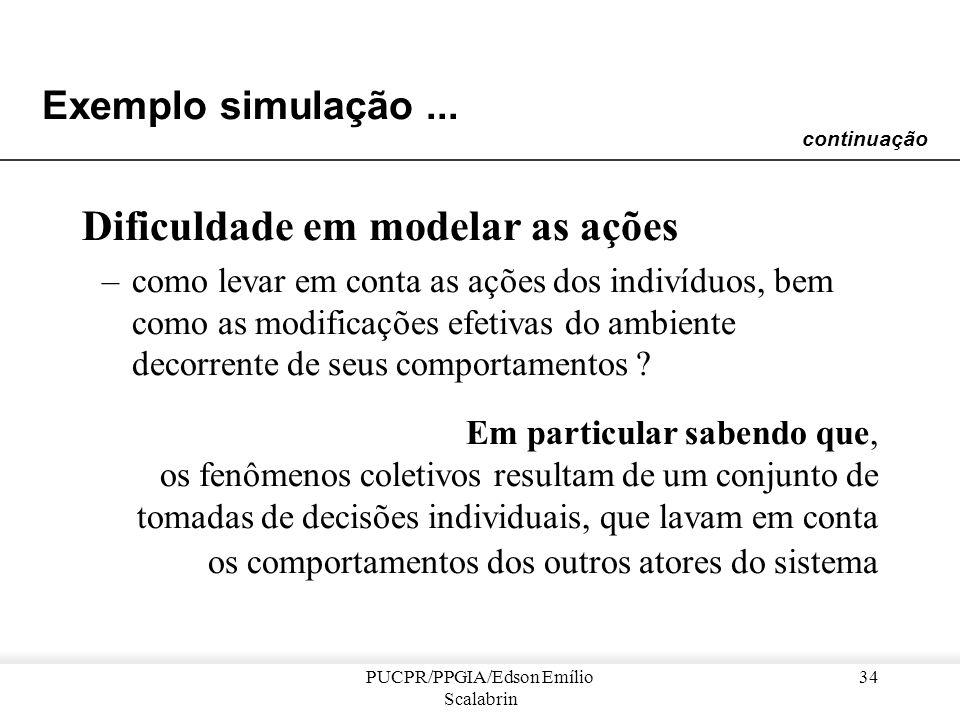PUCPR/PPGIA/Edson Emílio Scalabrin 33 Exemplo simulação... Complexidade e realismo dos parâmetros na simulação apenas numérica –para ser utilizável e