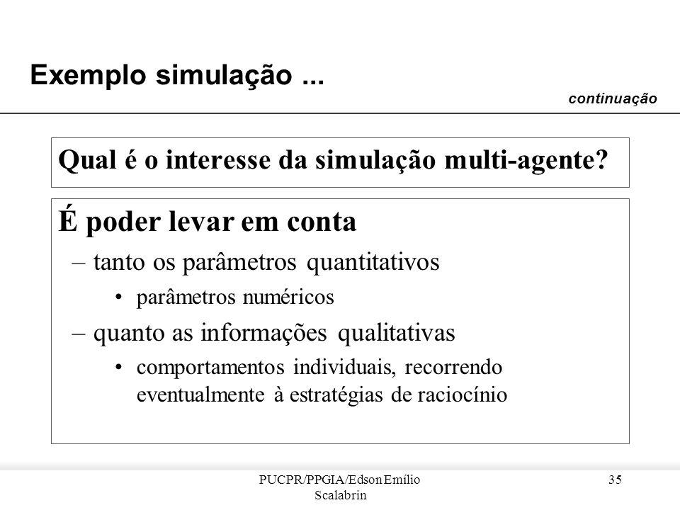 PUCPR/PPGIA/Edson Emílio Scalabrin 34 Exemplo simulação... Dificuldade em modelar as ações –como levar em conta as ações dos indivíduos, bem como as m