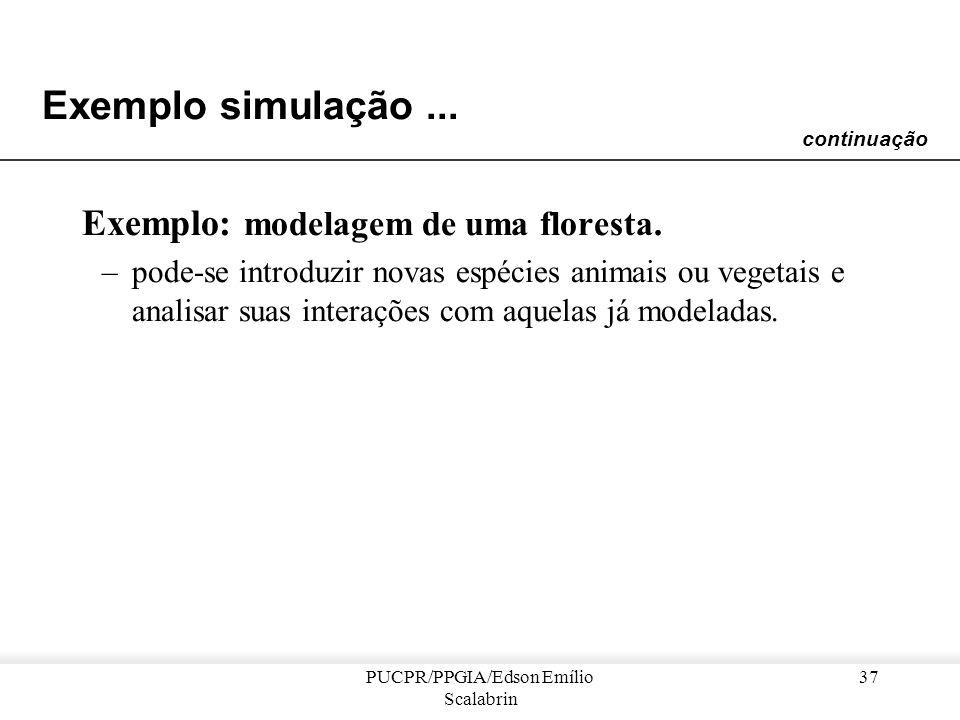 PUCPR/PPGIA/Edson Emílio Scalabrin 36 Exemplo simulação... Vantagens da modelagem multi-agente –é possível integrar na mesma modelagem, equações difer