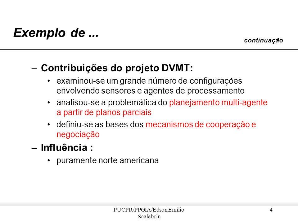 PUCPR/PPGIA/Edson Emílio Scalabrin 3 Exemplo de Sistema Multi-Agente DVMT (Distributed Vehicule Monitoring Test) –Projeto : Massachusetts [Lesser e Co