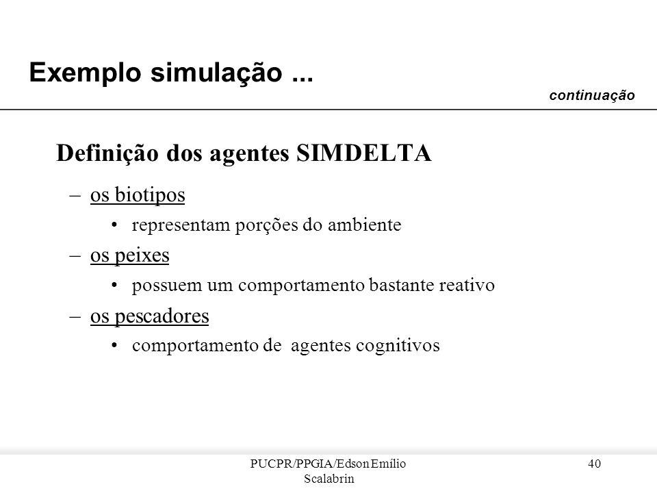 PUCPR/PPGIA/Edson Emílio Scalabrin 39 Exemplo simulação... Características do SIMDELTA : –Permite simular, em mesmo tempo, a dinâmica da população de