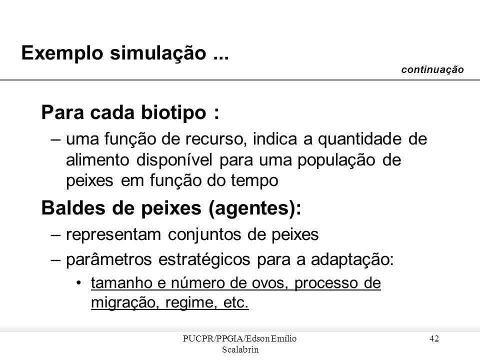 PUCPR/PPGIA/Edson Emílio Scalabrin 41 Exemplo simulação... Ambiente = Biotipos Conexões entre biótipos mudam em função do nível das águas continuação