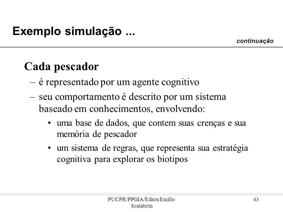 PUCPR/PPGIA/Edson Emílio Scalabrin 42 Exemplo simulação... Para cada biotipo : –uma função de recurso, indica a quantidade de alimento disponível para