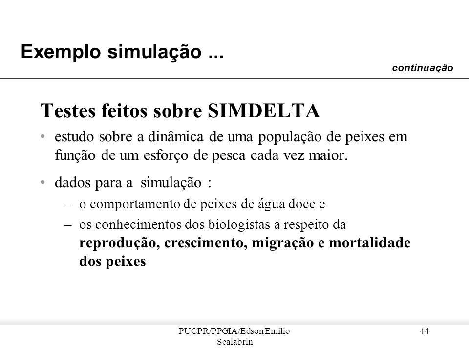 PUCPR/PPGIA/Edson Emílio Scalabrin 43 Exemplo simulação... Cada pescador –é representado por um agente cognitivo –seu comportamento é descrito por um