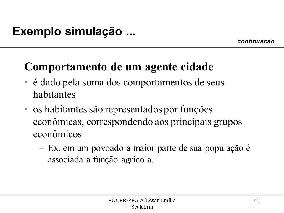 PUCPR/PPGIA/Edson Emílio Scalabrin 47 Exemplo simulação... Agentes do SIMPOP –cada lugar é representado por um agente cidade, que pode ser um povoado