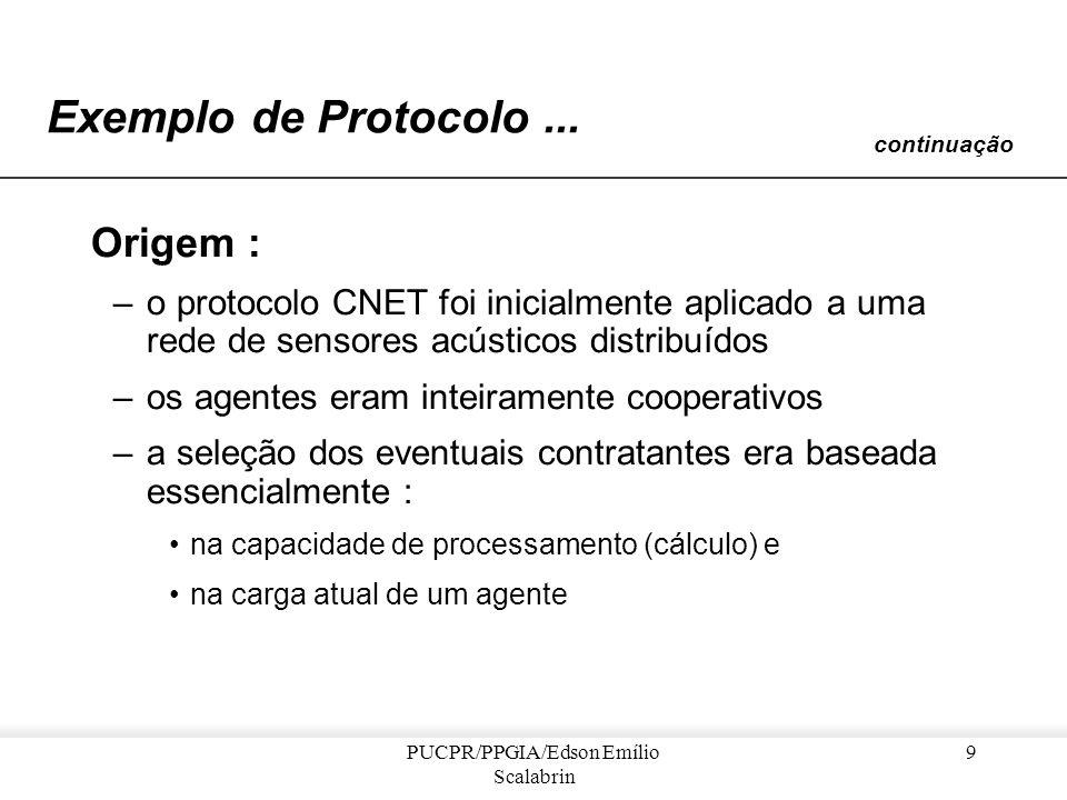 PUCPR/PPGIA/Edson Emílio Scalabrin 8 Exemplo de Protocolo de Negociação Metáfora Trata-se de um sistema oportunista de alocação de tarefas baseado no