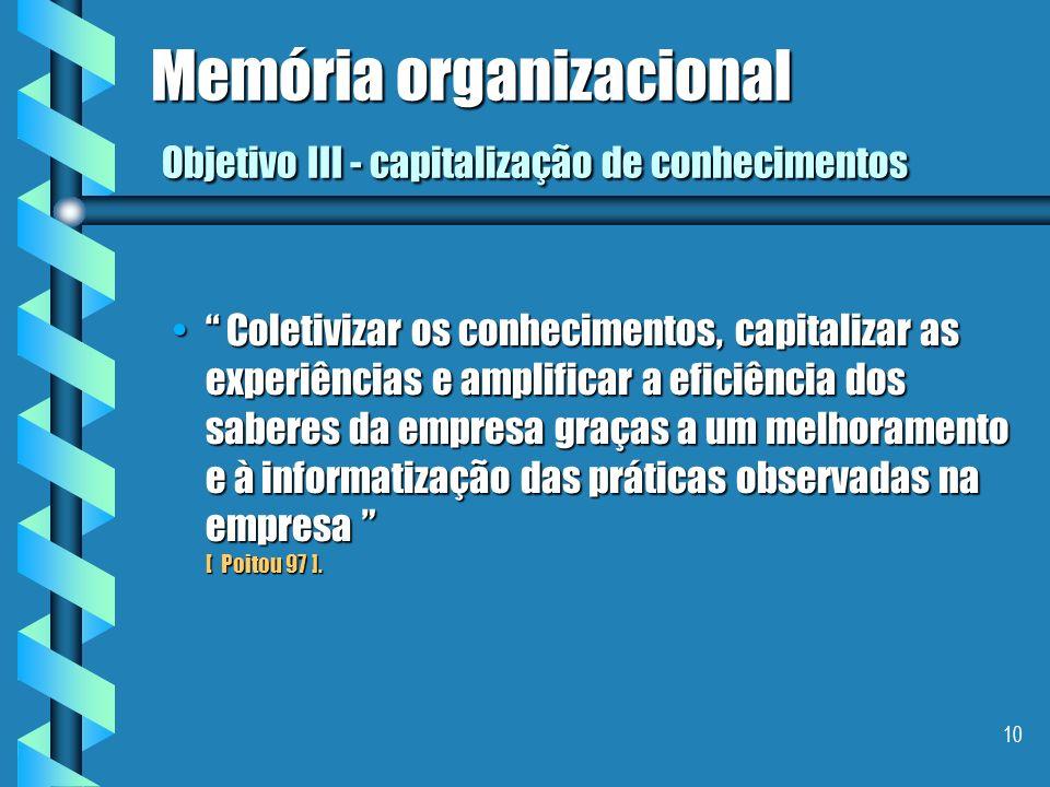 9 Memória organizacional Objetivo II - capitalização de conhecimentos Localizar e tornar visíveis os conhecimentos da empresa, ser capaz de os conserv