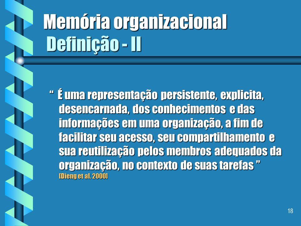 17 Memória organizacional As 7 etapas da cadeia de valorização dos conhecimentos fazer um levantamento dos conhecimentos existentesfazer um levantamen
