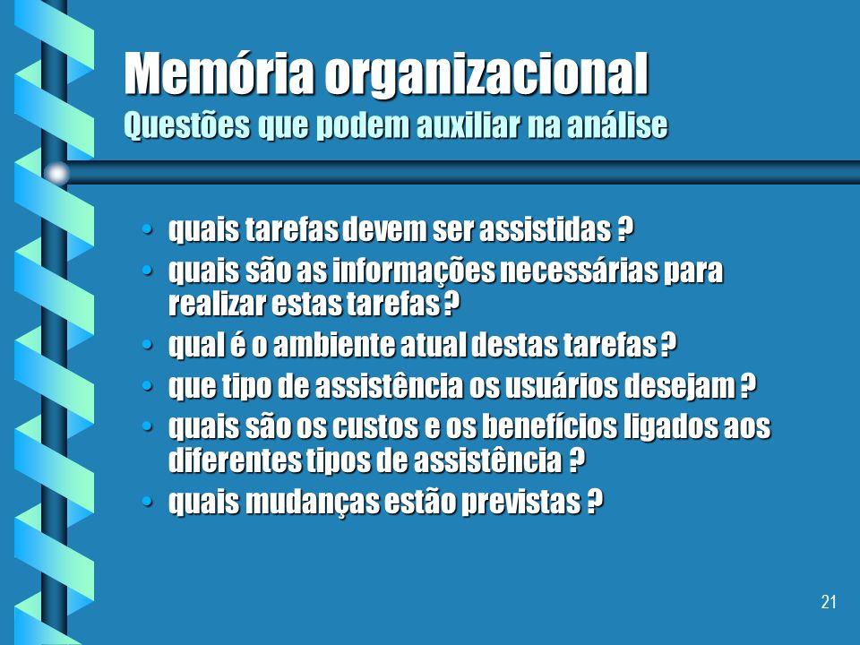 20 Memória organizacional Necessidades / motivações industrias evitar a perda do saber-fazer/know-how de um especialista após sua aposentadoria, seu d