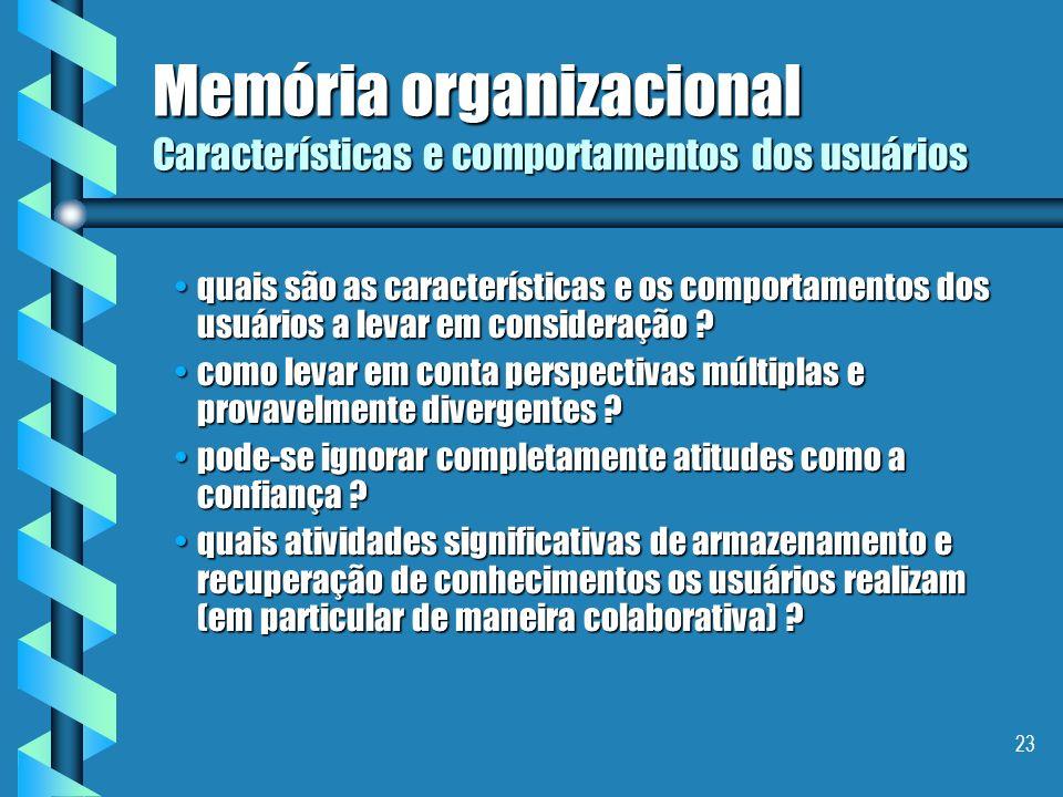 22 Memória organizacional Tipos de usuários quais são os usuários a levar em consideração ?quais são os usuários a levar em consideração ? como levar