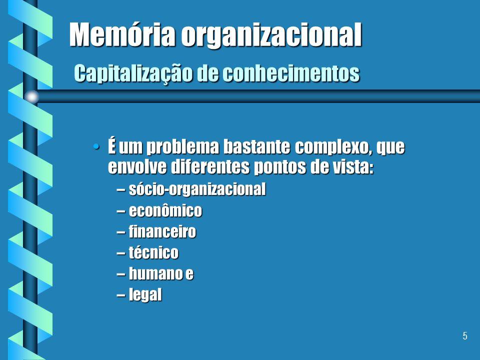 5 Memória organizacional Capitalização de conhecimentos É um problema bastante complexo, que envolve diferentes pontos de vista:É um problema bastante complexo, que envolve diferentes pontos de vista: –sócio-organizacional –econômico –financeiro –técnico –humano e –legal