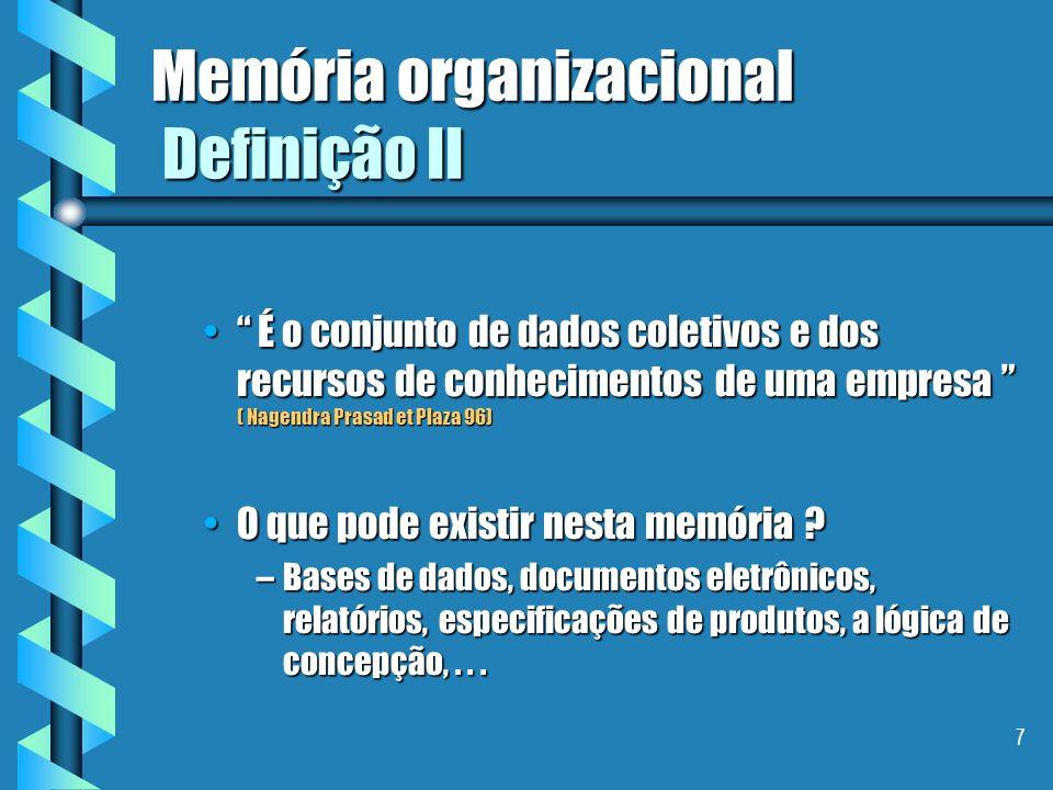 7 Memória organizacional Definição II É o conjunto de dados coletivos e dos recursos de conhecimentos de uma empresa ( Nagendra Prasad et Plaza 96) É o conjunto de dados coletivos e dos recursos de conhecimentos de uma empresa ( Nagendra Prasad et Plaza 96) O que pode existir nesta memória ?O que pode existir nesta memória .