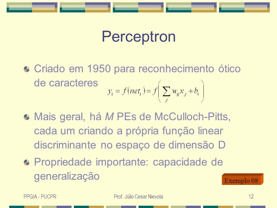 PPGIA - PUCPRProf. Júlio Cesar Nievola12 Perceptron Criado em 1950 para reconhecimento ótico de caracteres Mais geral, há M PEs de McCulloch-Pitts, ca