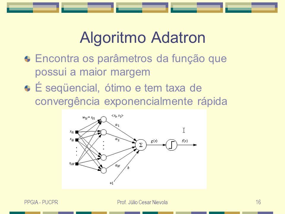 PPGIA - PUCPRProf. Júlio Cesar Nievola16 Algoritmo Adatron Encontra os parâmetros da função que possui a maior margem É seqüencial, ótimo e tem taxa d