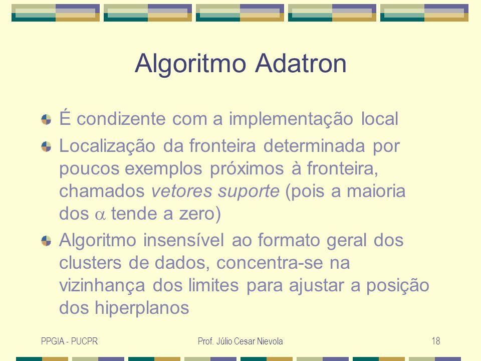 PPGIA - PUCPRProf. Júlio Cesar Nievola18 Algoritmo Adatron É condizente com a implementação local Localização da fronteira determinada por poucos exem