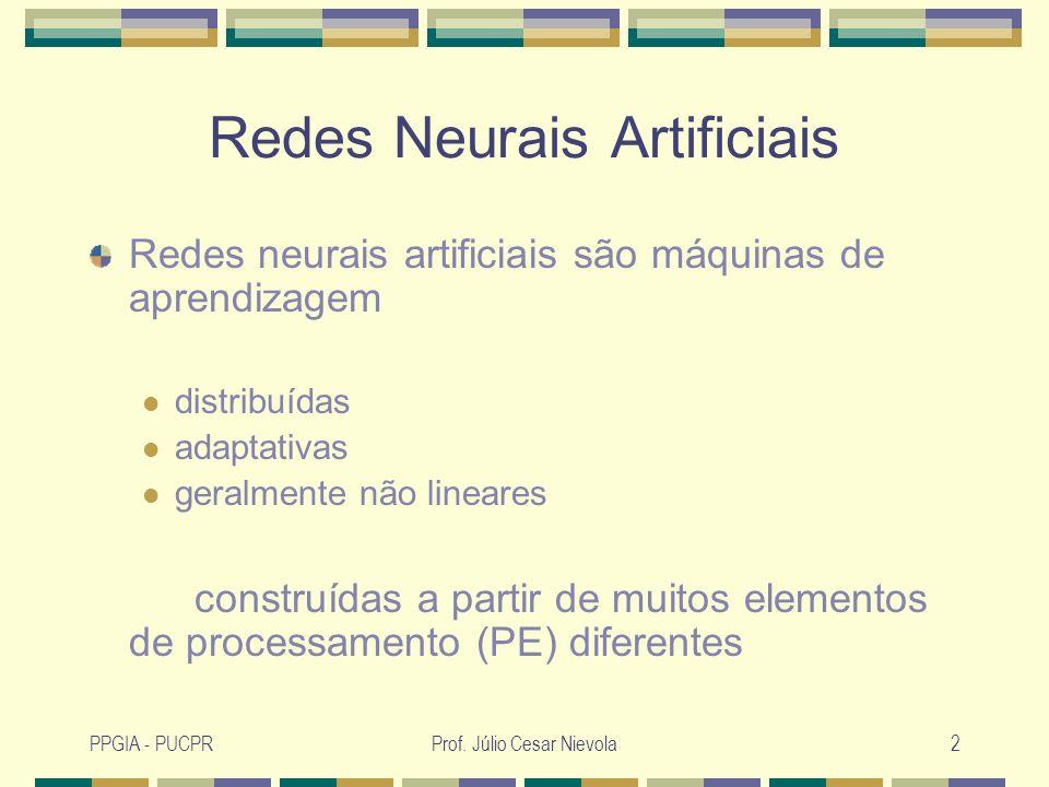 Prof. Júlio Cesar Nievola2 Redes Neurais Artificiais Redes neurais artificiais são máquinas de aprendizagem distribuídas adaptativas geralmente não li