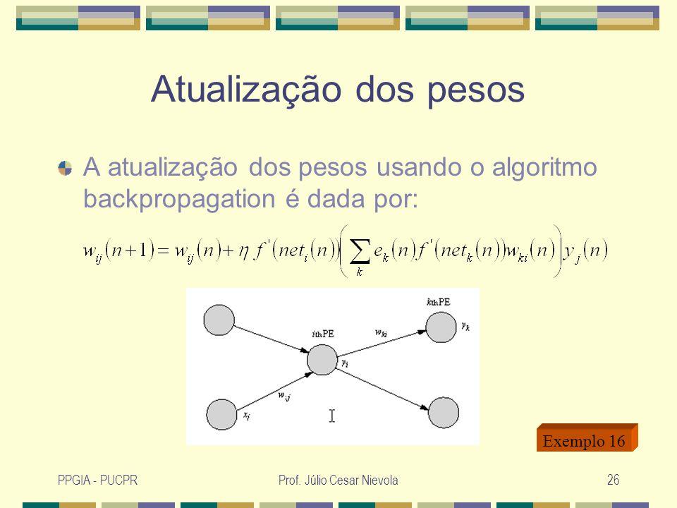 PPGIA - PUCPRProf. Júlio Cesar Nievola26 Atualização dos pesos A atualização dos pesos usando o algoritmo backpropagation é dada por: Exemplo 16