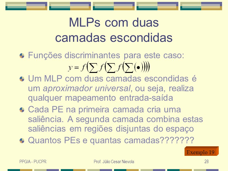 PPGIA - PUCPRProf. Júlio Cesar Nievola28 MLPs com duas camadas escondidas Funções discriminantes para este caso: Um MLP com duas camadas escondidas é