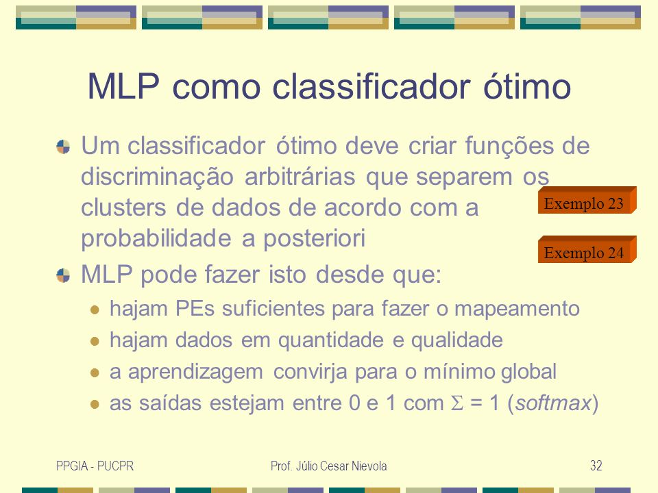PPGIA - PUCPRProf. Júlio Cesar Nievola32 MLP como classificador ótimo Um classificador ótimo deve criar funções de discriminação arbitrárias que separ