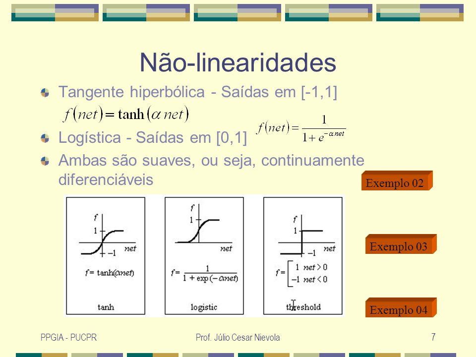 PPGIA - PUCPRProf. Júlio Cesar Nievola7 Não-linearidades Tangente hiperbólica - Saídas em [-1,1] Logística - Saídas em [0,1] Ambas são suaves, ou seja