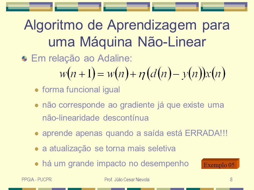 PPGIA - PUCPRProf. Júlio Cesar Nievola8 Algoritmo de Aprendizagem para uma Máquina Não-Linear Em relação ao Adaline: forma funcional igual não corresp