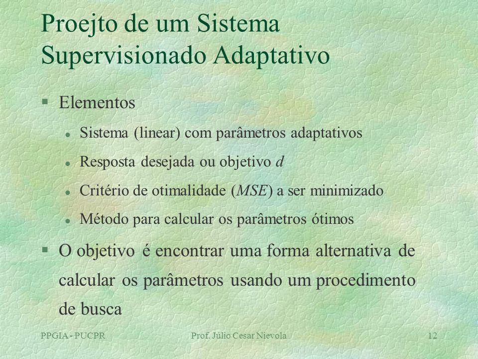 PPGIA - PUCPRProf. Júlio Cesar Nievola12 Proejto de um Sistema Supervisionado Adaptativo §Elementos l Sistema (linear) com parâmetros adaptativos l Re