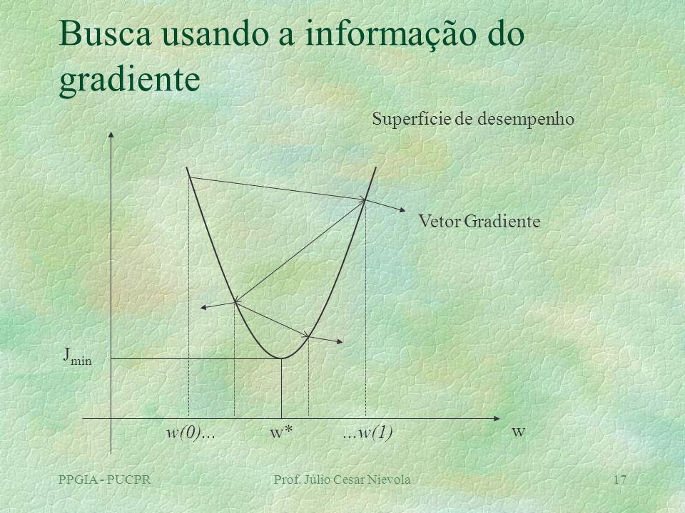 PPGIA - PUCPRProf. Júlio Cesar Nievola17 Busca usando a informação do gradiente w J min w* Superfície de desempenho w(0)......w(1) Vetor Gradiente