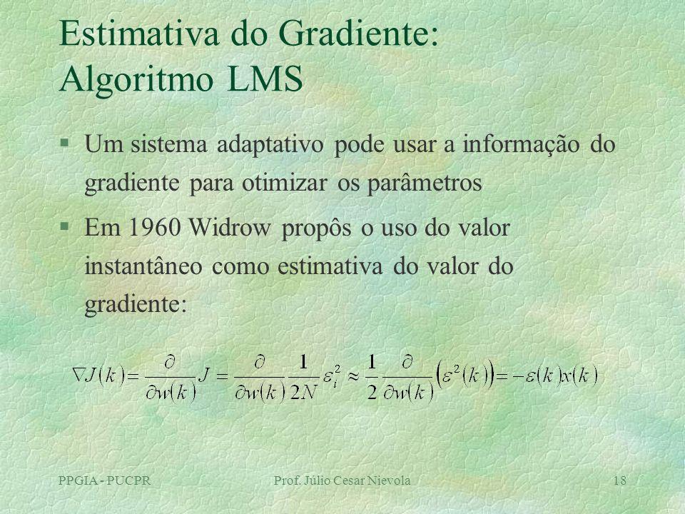 PPGIA - PUCPRProf. Júlio Cesar Nievola18 Estimativa do Gradiente: Algoritmo LMS §Um sistema adaptativo pode usar a informação do gradiente para otimiz
