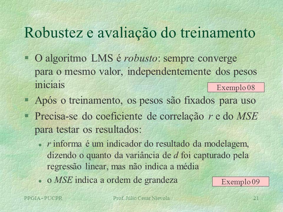PPGIA - PUCPRProf. Júlio Cesar Nievola21 Robustez e avaliação do treinamento §O algoritmo LMS é robusto: sempre converge para o mesmo valor, independe