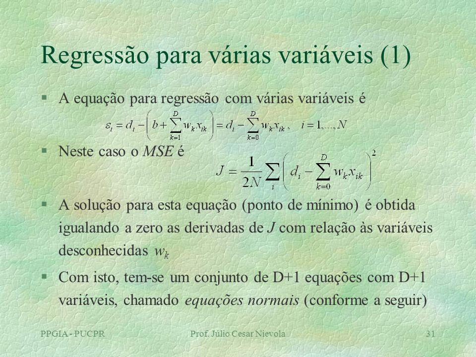 PPGIA - PUCPRProf. Júlio Cesar Nievola31 Regressão para várias variáveis (1) §A equação para regressão com várias variáveis é §Neste caso o MSE é §A s