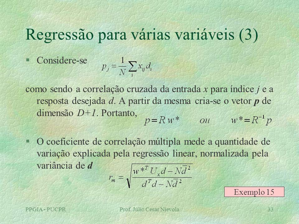 PPGIA - PUCPRProf. Júlio Cesar Nievola33 Regressão para várias variáveis (3) §Considere-se como sendo a correlação cruzada da entrada x para índice j