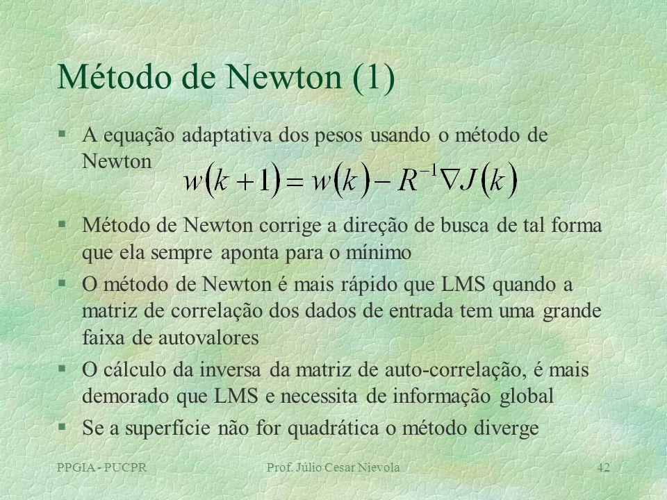 PPGIA - PUCPRProf. Júlio Cesar Nievola42 Método de Newton (1) §A equação adaptativa dos pesos usando o método de Newton §Método de Newton corrige a di