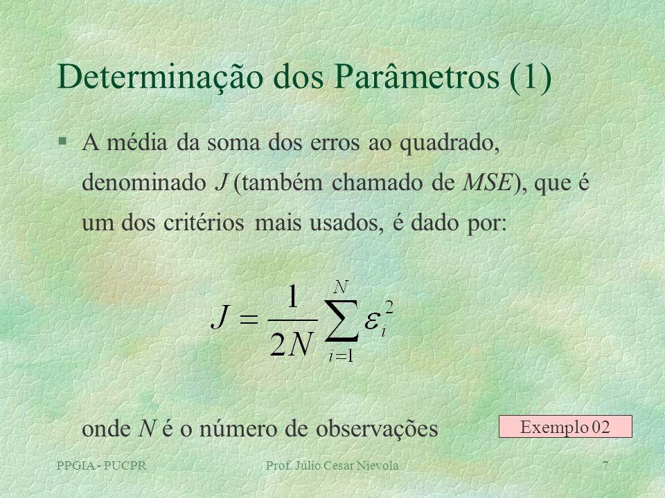 PPGIA - PUCPRProf. Júlio Cesar Nievola7 Determinação dos Parâmetros (1) §A média da soma dos erros ao quadrado, denominado J (também chamado de MSE),