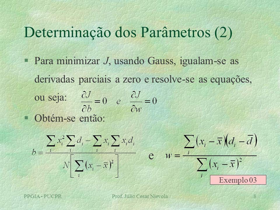 PPGIA - PUCPRProf. Júlio Cesar Nievola8 Determinação dos Parâmetros (2) §Para minimizar J, usando Gauss, igualam-se as derivadas parciais a zero e res