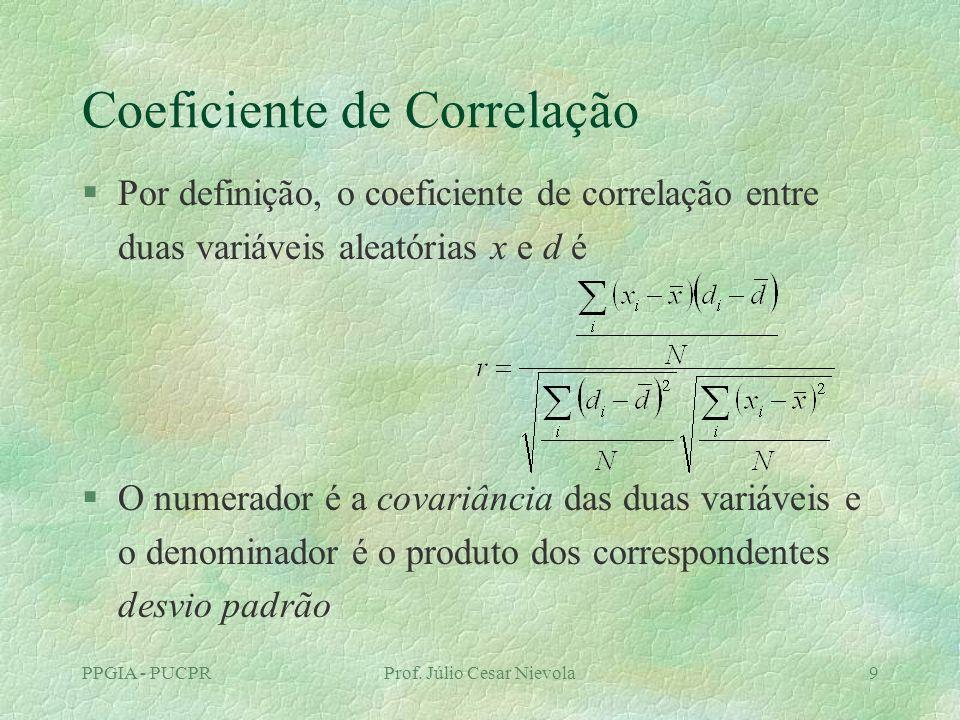 PPGIA - PUCPRProf. Júlio Cesar Nievola9 Coeficiente de Correlação §Por definição, o coeficiente de correlação entre duas variáveis aleatórias x e d é