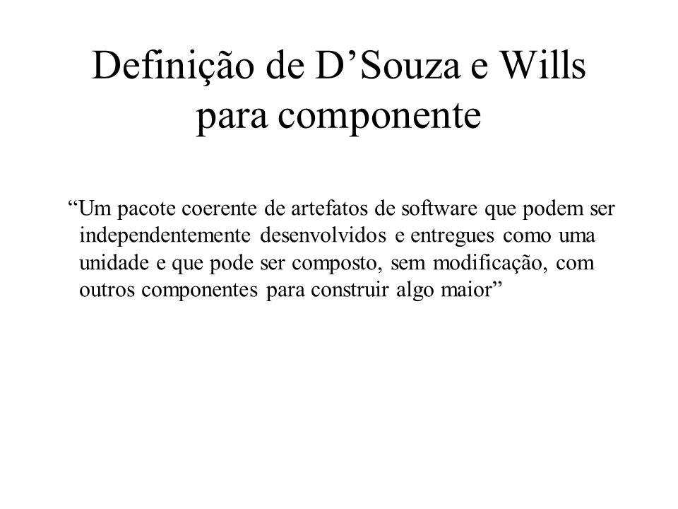 Definição de DSouza e Wills para componente Um pacote coerente de artefatos de software que podem ser independentemente desenvolvidos e entregues como