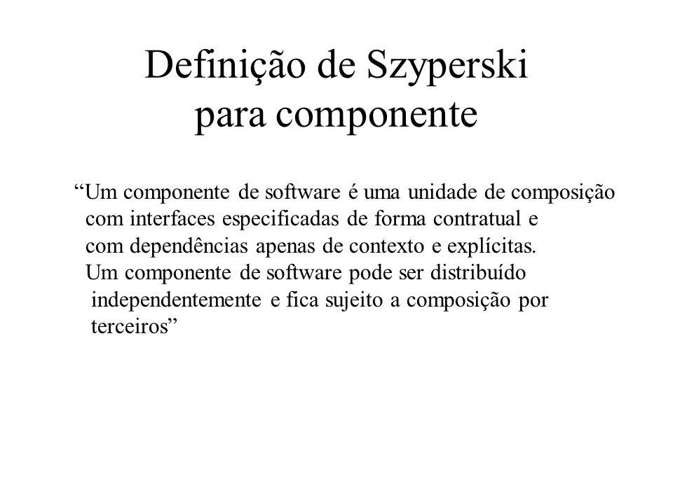 Definição de Szyperski para componente Um componente de software é uma unidade de composição com interfaces especificadas de forma contratual e com de