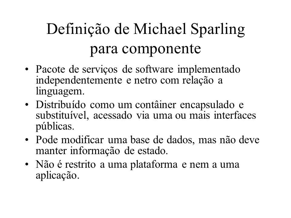 Definição de Michael Sparling para componente Pacote de serviços de software implementado independentemente e netro com relação a linguagem. Distribuí