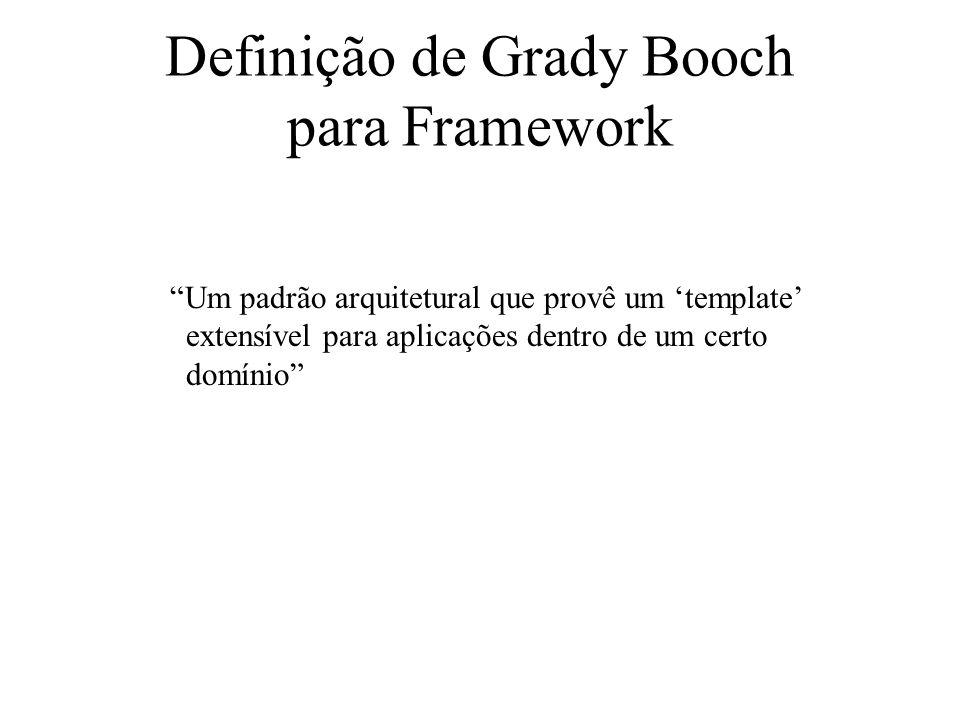 Definição de Grady Booch para Framework Um padrão arquitetural que provê um template extensível para aplicações dentro de um certo domínio