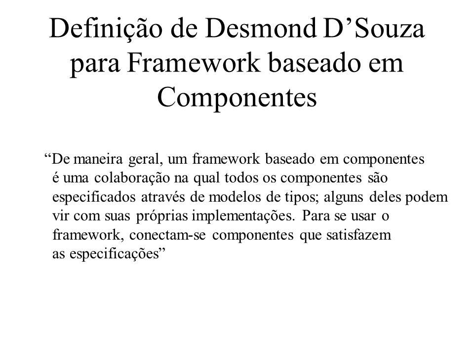 Definição de Desmond DSouza para Framework baseado em Componentes De maneira geral, um framework baseado em componentes é uma colaboração na qual todo