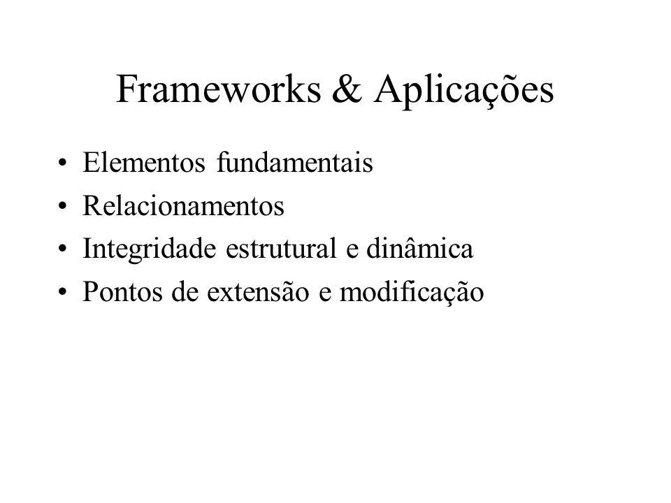 Frameworks & Aplicações Elementos fundamentais Relacionamentos Integridade estrutural e dinâmica Pontos de extensão e modificação