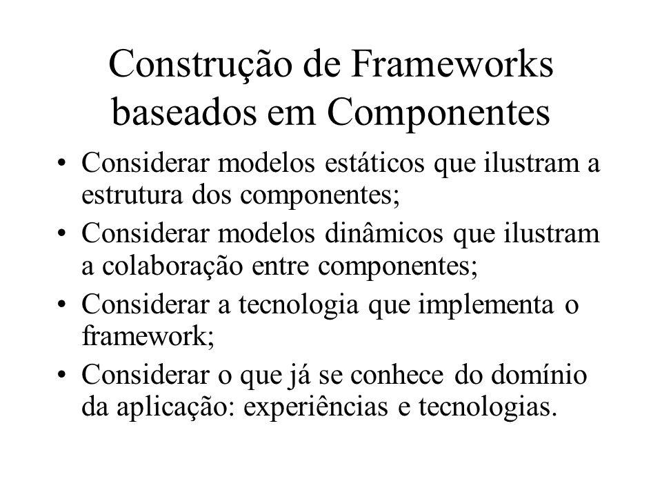 Construção de Frameworks baseados em Componentes Considerar modelos estáticos que ilustram a estrutura dos componentes; Considerar modelos dinâmicos q