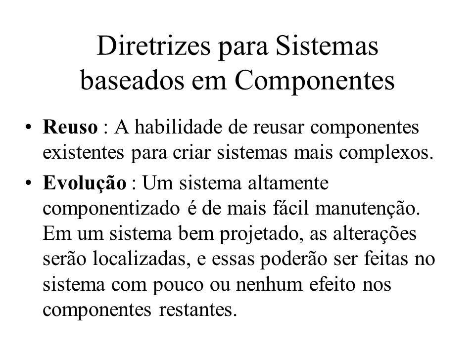 Diretrizes para Sistemas baseados em Componentes Reuso : A habilidade de reusar componentes existentes para criar sistemas mais complexos. Evolução :