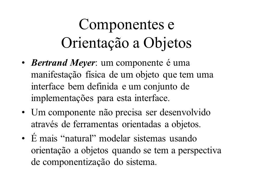 Componentes e Orientação a Objetos Bertrand Meyer: um componente é uma manifestação física de um objeto que tem uma interface bem definida e um conjun