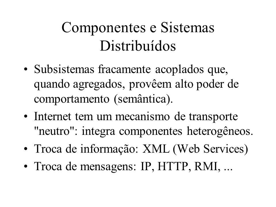 Componentes e Sistemas Distribuídos Subsistemas fracamente acoplados que, quando agregados, provêem alto poder de comportamento (semântica). Internet
