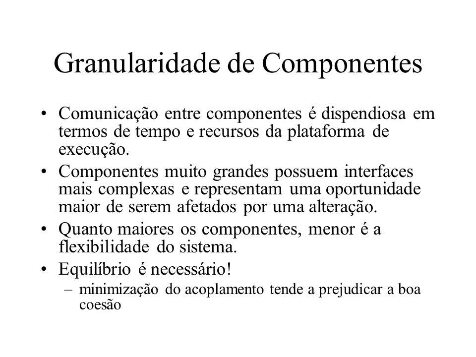 Granularidade de Componentes Comunicação entre componentes é dispendiosa em termos de tempo e recursos da plataforma de execução. Componentes muito gr