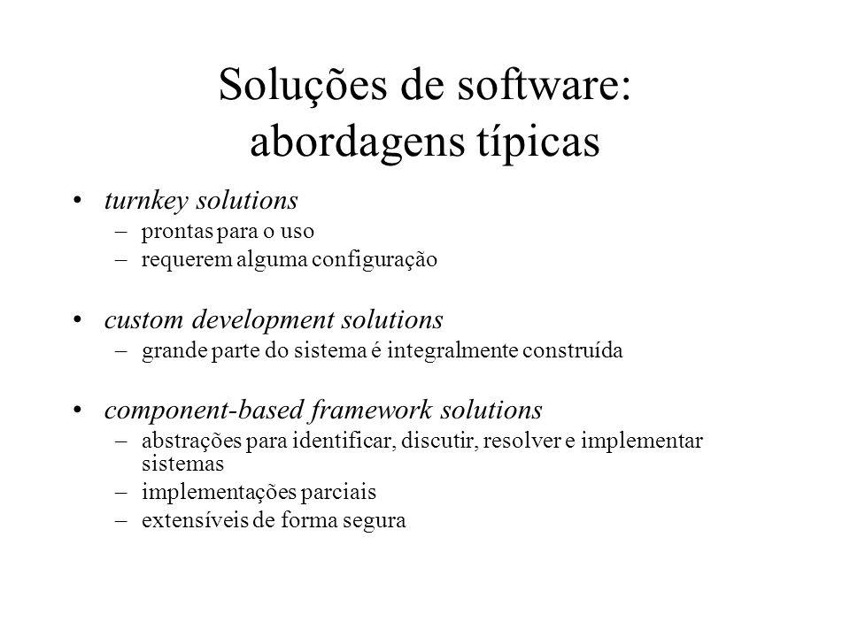 Soluções de software: abordagens típicas turnkey solutions –prontas para o uso –requerem alguma configuração custom development solutions –grande part